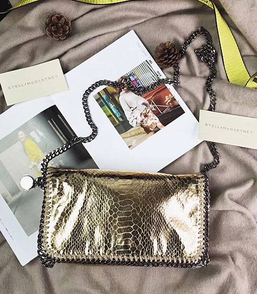 Stella McCartney Falabella Golden Snake Veins Oil Wax Cross Body Bag