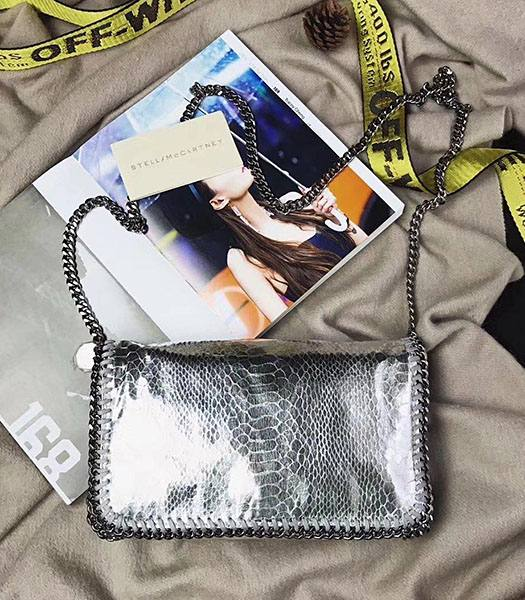 Stella McCartney Falabella Silver Snake Veins Oil Wax Cross Body Bag