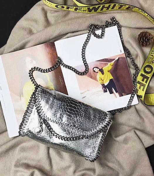 Stella McCartney Silver Snake Veins Oil Wax 16cm Shoulder Bag