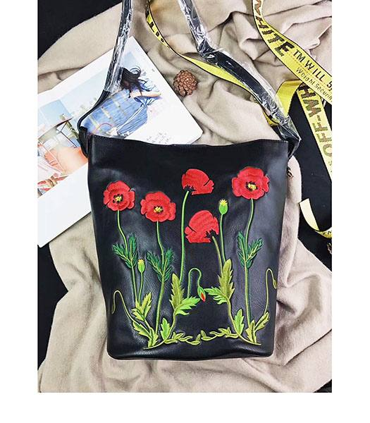 Stella McCartney Popper Black Environmental Polyester Fiber Red Flower 24cm Hobo Bag