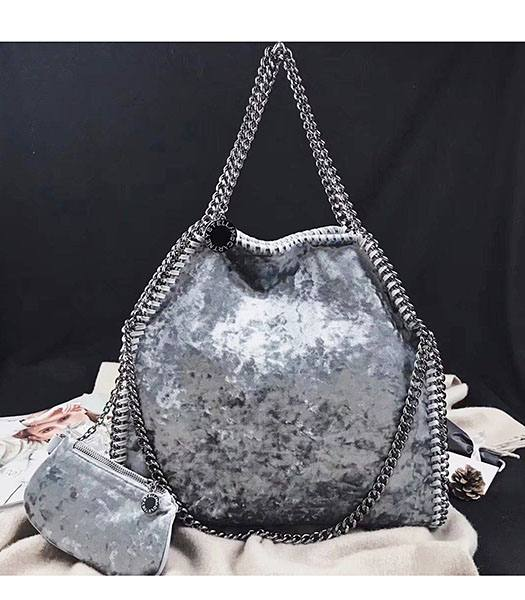 Stella McCartney Falabella Grey Velvet 36cm Tote Bag