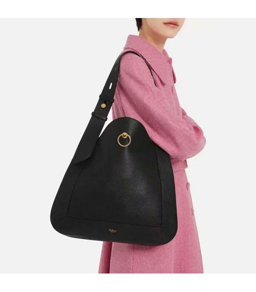 Mulberry Marloes Black Original Litchi Veins Leather Hobo Bag-1