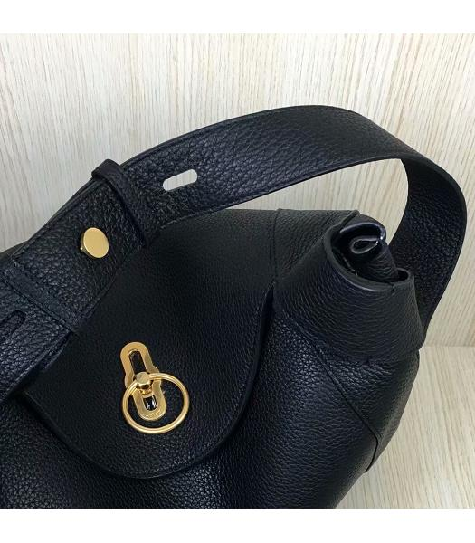 Mulberry Marloes Black Original Litchi Veins Leather Hobo Bag-4