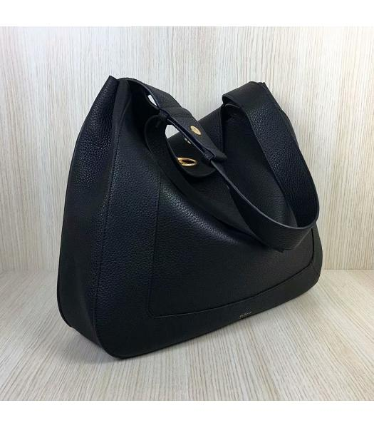Mulberry Marloes Black Original Litchi Veins Leather Hobo Bag-5