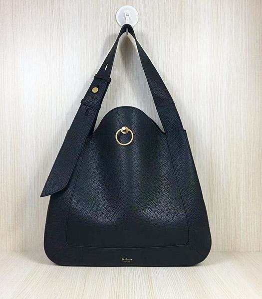 Mulberry Marloes Black Original Litchi Veins Leather Hobo Bag