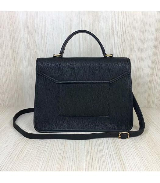 Mulberry Gracy Black Litchi Veins Leather Tote Satchel Bag-1