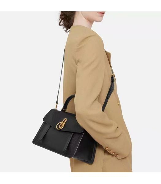 Mulberry Gracy Black Litchi Veins Leather Tote Satchel Bag-5