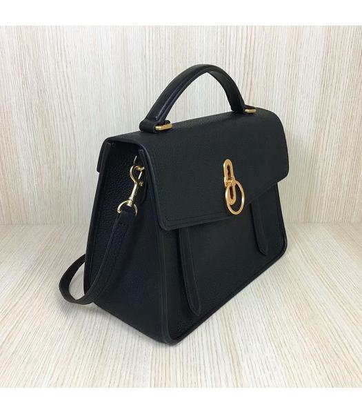 Mulberry Gracy Black Litchi Veins Leather Tote Satchel Bag-6