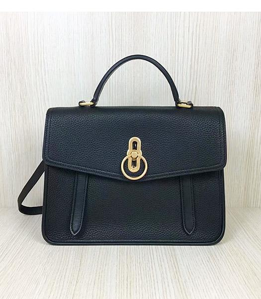 Mulberry Gracy Black Litchi Veins Leather Tote Satchel Bag