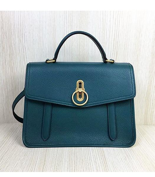Mulberry Gracy Blue Litchi Veins Leather Tote Satchel Bag
