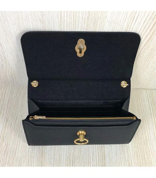 Mulberry Amberley Black Upper Calfskin Litchi Veins Leather Clutch Chains Bag-2