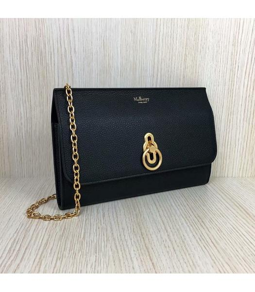 Mulberry Amberley Black Upper Calfskin Litchi Veins Leather Clutch Chains Bag-5