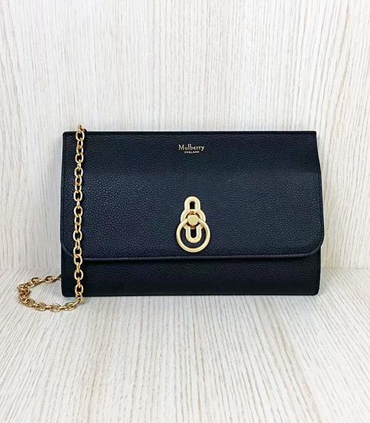 Mulberry Amberley Black Upper Calfskin Litchi Veins Leather Clutch Chains Bag