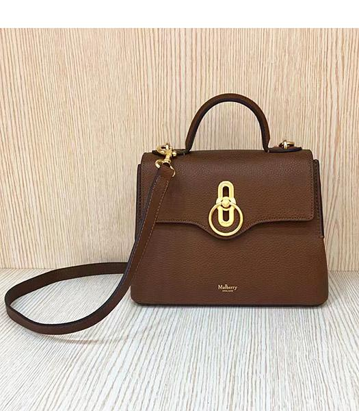 Mulberry Mini Seaton Light Coffee Litchi Veins Leather Top Handle Shoulder Bag