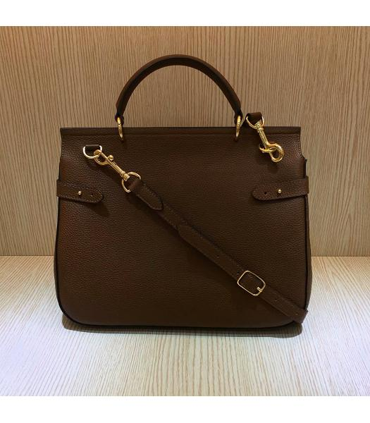 Mulberry Amberley Light Coffee Litchi Veins Leather 32cm Tote Shoulder Bag-1