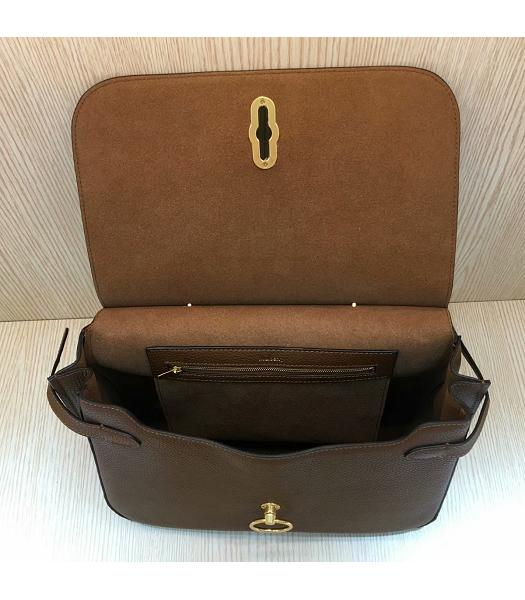Mulberry Amberley Light Coffee Litchi Veins Leather 32cm Tote Shoulder Bag-3