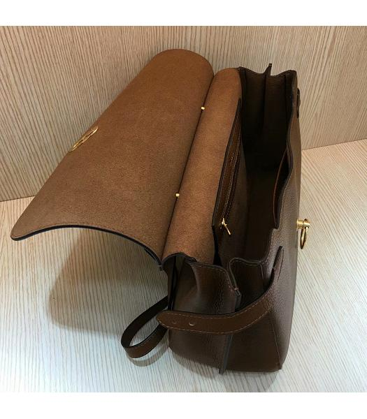 Mulberry Amberley Light Coffee Litchi Veins Leather 32cm Tote Shoulder Bag-4