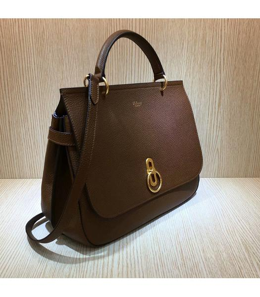 Mulberry Amberley Light Coffee Litchi Veins Leather 32cm Tote Shoulder Bag-6