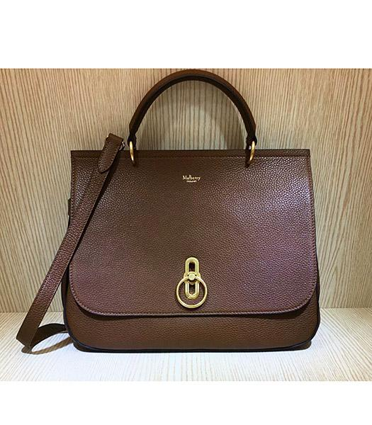 Mulberry Amberley Light Coffee Litchi Veins Leather 32cm Tote Shoulder Bag