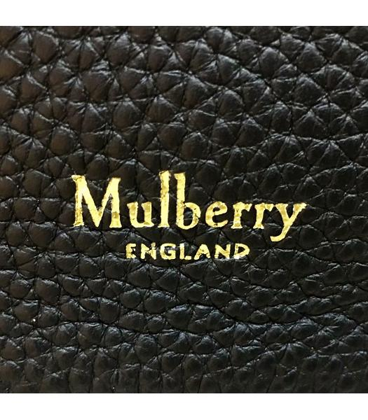 Mulberry Black Upper Original Litchi Veins Calfskin Leather Bucket Bag-5