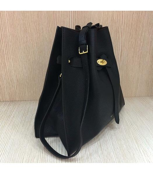 Mulberry Black Upper Original Litchi Veins Calfskin Leather Bucket Bag-6