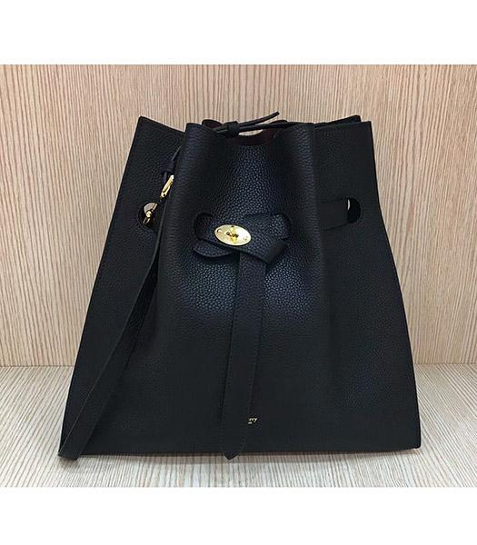 Mulberry Black Upper Original Litchi Veins Calfskin Leather Bucket Bag