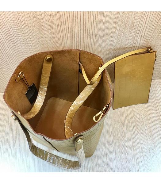Mulberry Camel Croc Veins Calfskin Leather 25cm Tote Bucket Bag-3
