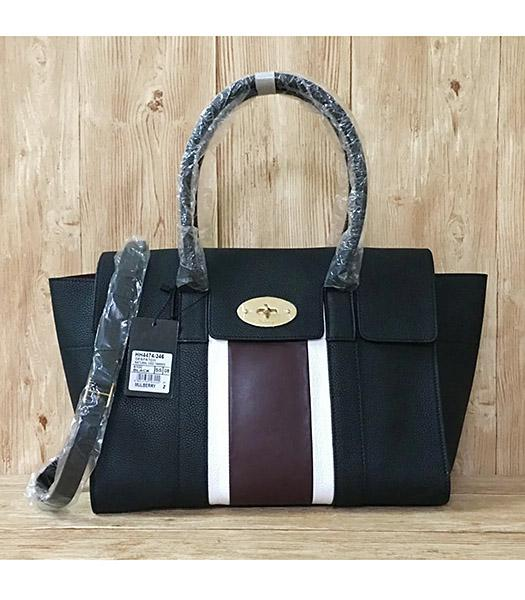 Mulberry Bayswater Web Black Litchi Veins Leather 37cm Tote Bags