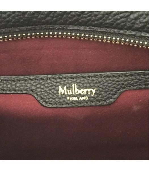 Mulberry Bayswater Web Black Litchi Veins Leather 29cm Tote Bags-5