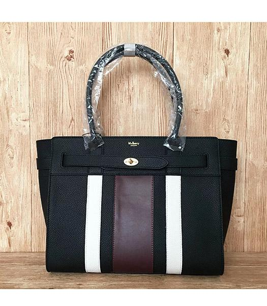 Mulberry Bayswater Web Black Litchi Veins Leather 34cm Tote Bags