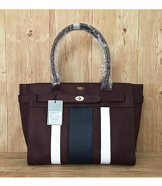Mulberry Bayswater Web Jujube Litchi Veins Leather 34cm Tote Bags