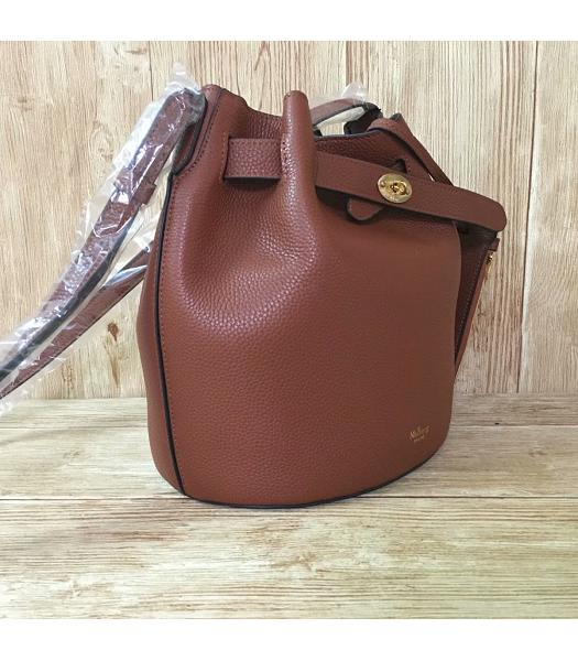 Mulberry Light Coffee Litchi Veins Leather Bucket Bag-1