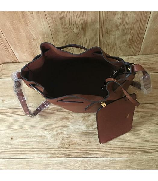 Mulberry Light Coffee Litchi Veins Leather Bucket Bag-2