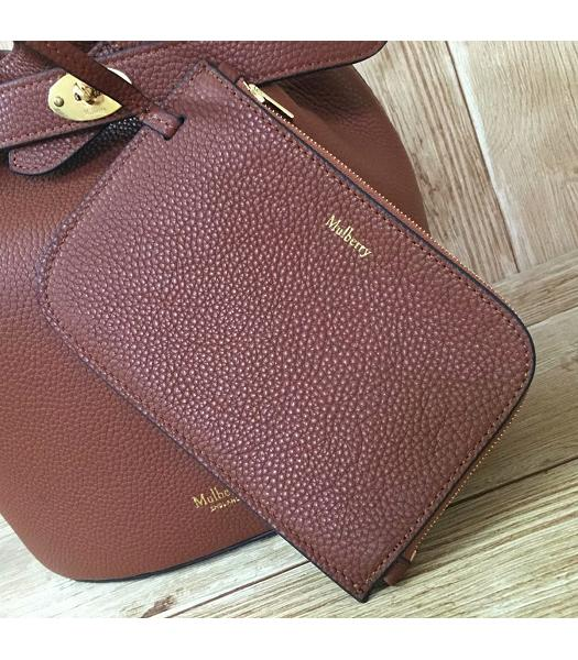Mulberry Light Coffee Litchi Veins Leather Bucket Bag-3