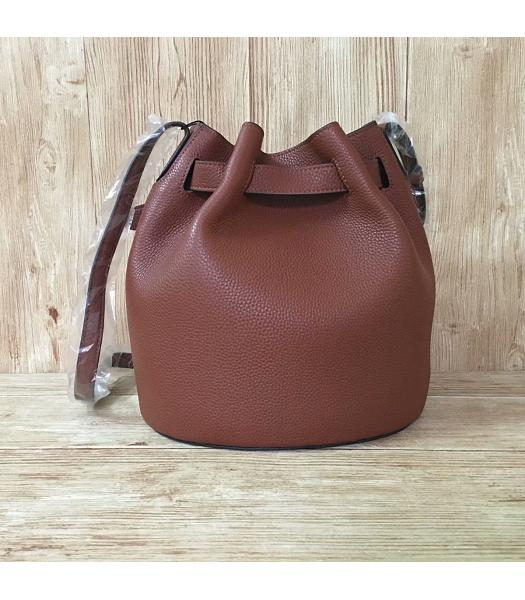 Mulberry Light Coffee Litchi Veins Leather Bucket Bag-6