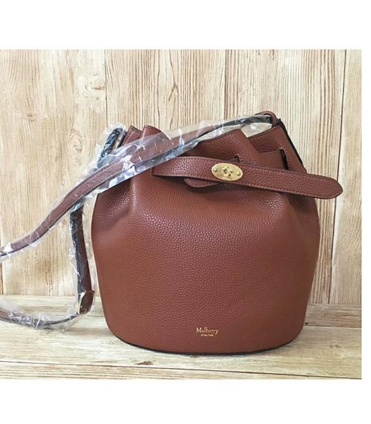 Mulberry Light Coffee Litchi Veins Leather Bucket Bag