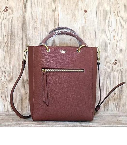 Mulberry Small Maple Light Coffee Litchi Veins Leather 23cm Tote Bag