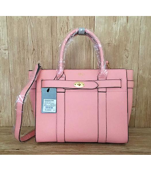 Mulberry Pink Litchi Veins Leather Top Handle Small Bag