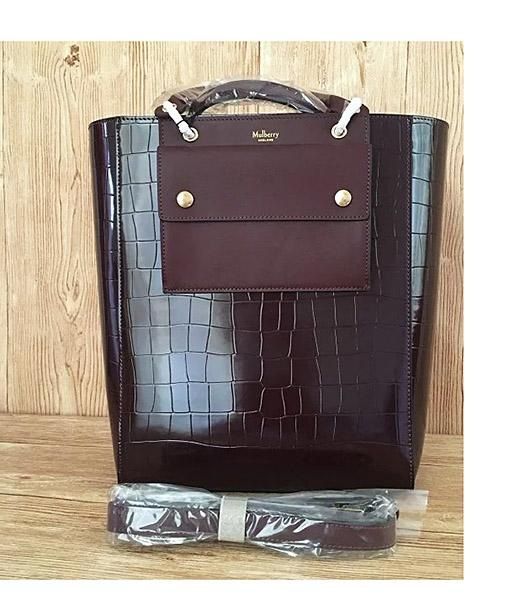 Mulberry Jujube Croc Veins Leather 31cm Tote Bag