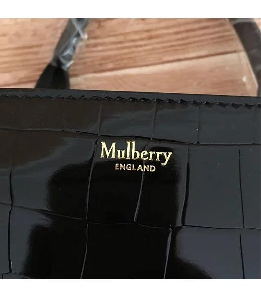 Mulberry Black Croc Veins Leather 31cm Tote Bag-4