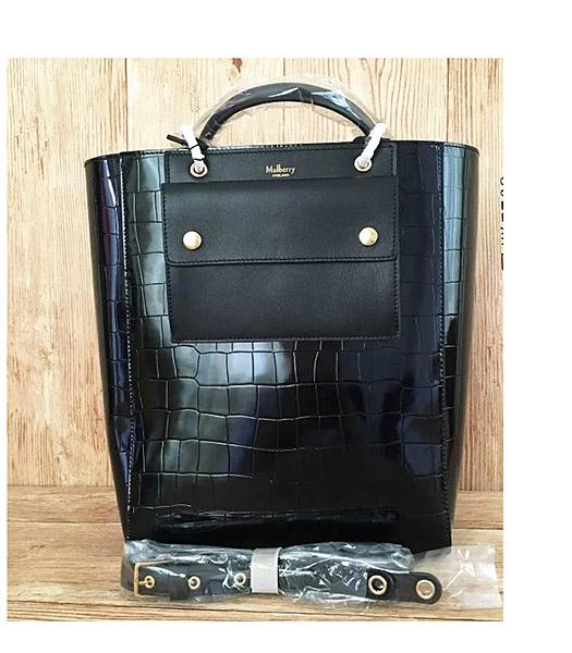 Mulberry Black Croc Veins Leather 31cm Tote Bag