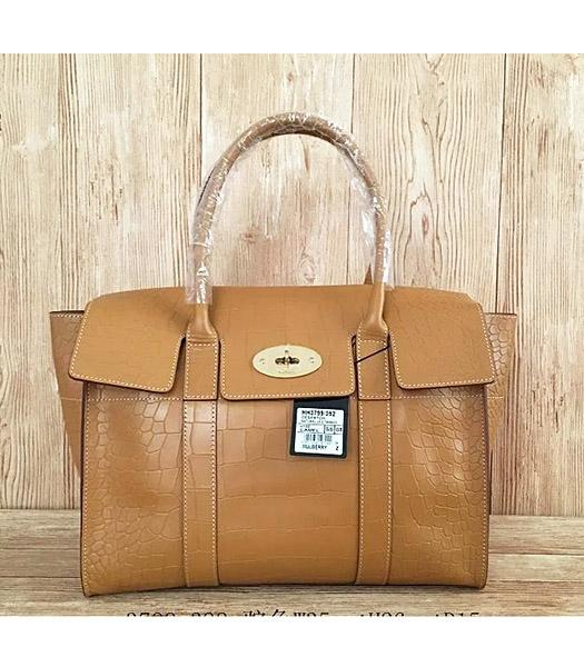 Mulberry Camel Croc Veins Leather 35cm Tote Bag