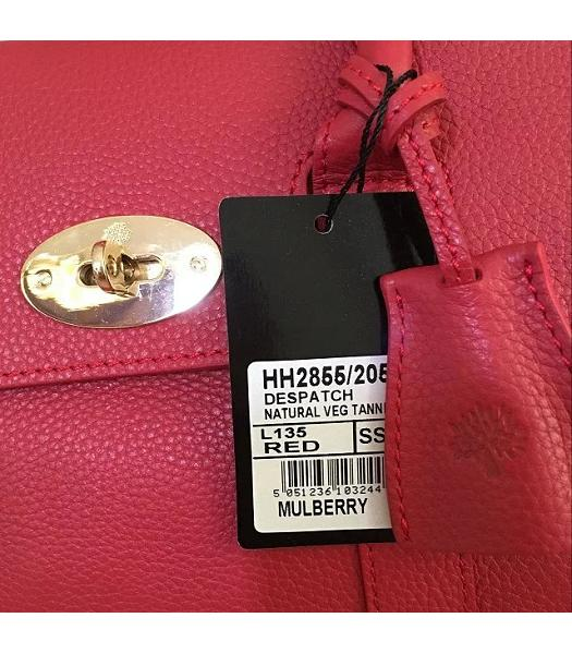 Mulberry Heritage Bayswater Red Litchi Veins Leather 28cm Tote Bag-6