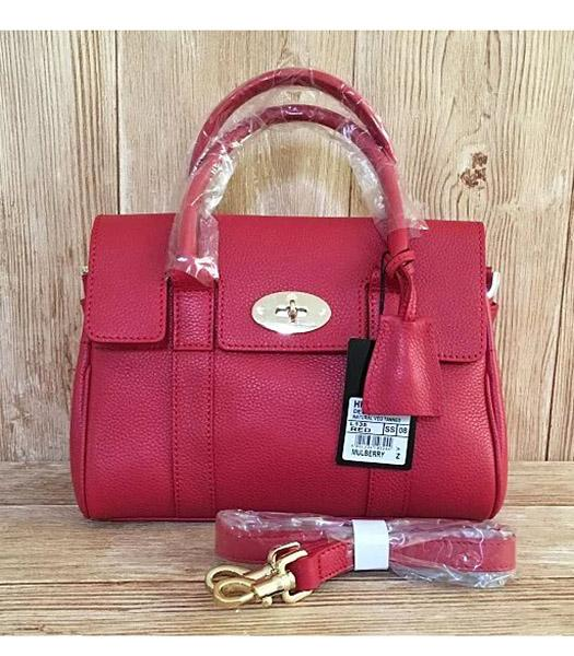 Mulberry Heritage Bayswater Red Litchi Veins Leather 28cm Tote Bag