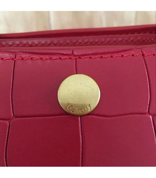 Mulberry Red Croc Veins Leather Top Handle Bag-4