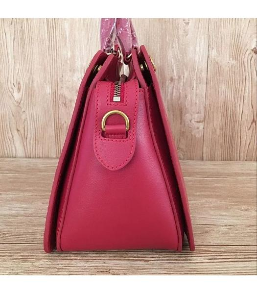 Mulberry Red Croc Veins Leather Top Handle Bag-5
