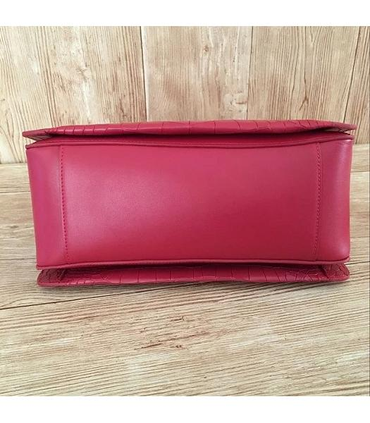 Mulberry Red Croc Veins Leather Top Handle Bag-6