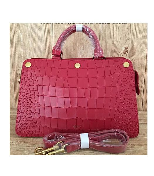 Mulberry Red Croc Veins Leather Top Handle Bag