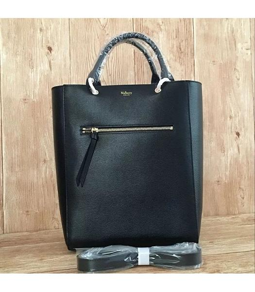 Mulberry Black&Green Plain Veins Leather 31cm Tote Bag-5