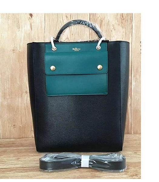 Mulberry Black&Green Plain Veins Leather 31cm Tote Bag